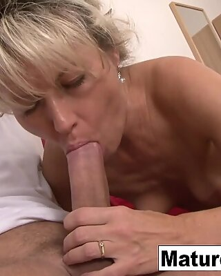 Blonde granny wants a big cock in her hairy pussy!