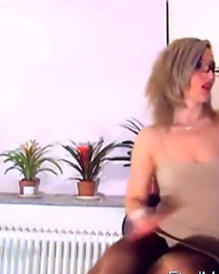 Hot Amia Miley in pantyhose seduces her fans in solo
