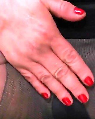 BBW milf Carmen hides vibrating egg in pantyhose