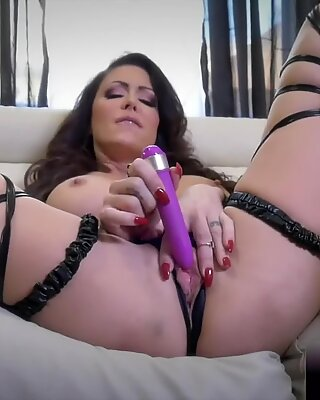 busty mother jessica jaymes in a hot skin strings dress with a purple toy