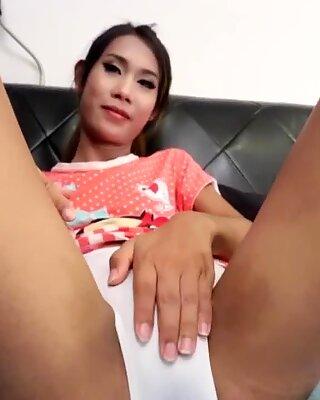 Amateur asian tgirl rubbing her cock solo