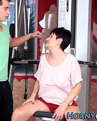 Granny banged at the gym