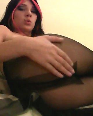 Hottie in black stockings having fun