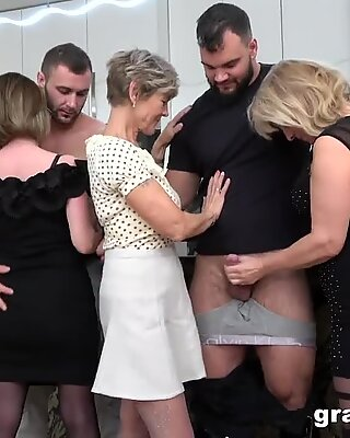 first-ever Ever grannie orgy! Cock Fest!