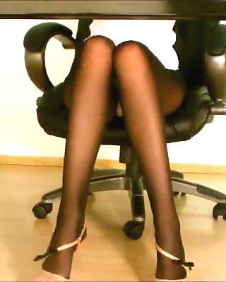Secretary pantyhose upskirt
