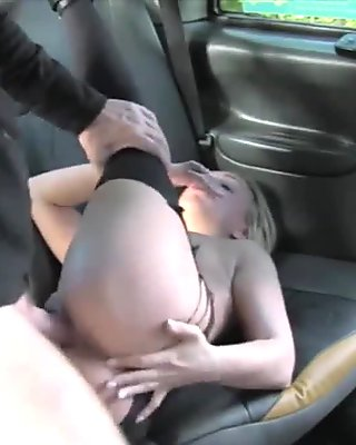 Pretty blonde babe sucks off and fucked by fake driver