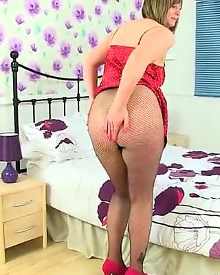 British milfs Diana and April look hot in fishnet tights
