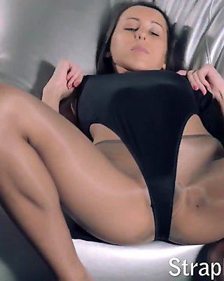Strapon sex in pantyhose and leotards