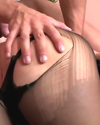 Skinny girl in pantyhose gets her tight