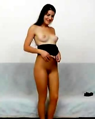 Pretty brunette pulls hose out of her puss