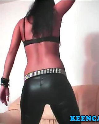 Pink pantyhose tease on the leather