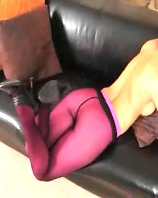 Purple nylon pantyhose on hot glamour