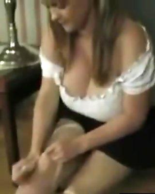 Busty Blonde Beauty In Pantyhose