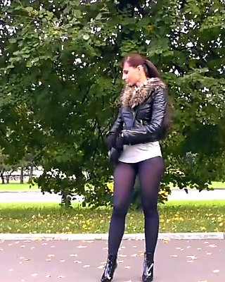 Jeny Smith high heels black pantyhose public walk