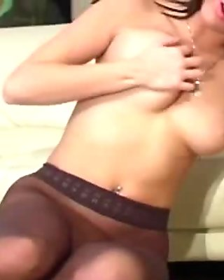 View of horny vagina in transparent pantyhose