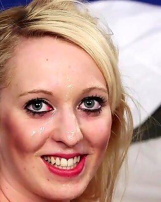 Frisky idol gets sperm shot on her face gulping all the jizm