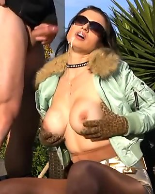 busty CUMFACE MILF in pantyhose stroking and sucking cock