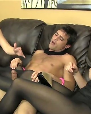 Two Doms w Big Tits make him fuck their nylons CBT