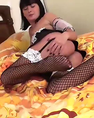 Horny French maid finds a dildo while cleaning up