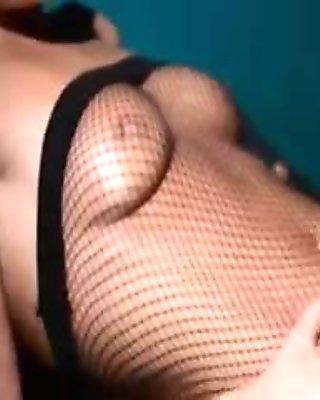 delicate babe masturbating in pantyhose