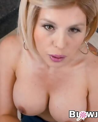 POV video of busty MILF Amber Chase sucking big cock