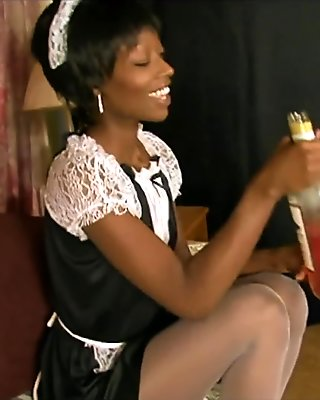 Hot Ebony pornstar Taylor Starr gets wild in a sexy French maid outfit