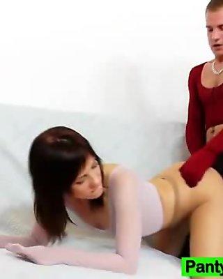 Thin Leony Aprill nylon tight sexual intercourse