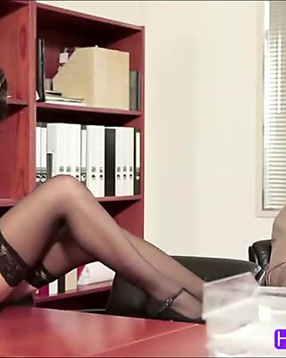 Office Lady In Pantyhose Sucking Her Boss Fucked Facial On The Carpet In The Office