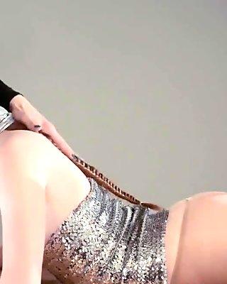 Pretty Silver Submissive Gets a  Dark  Domina Strap-on Pounding