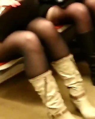 candid 2 sexy pantyhose girls in metro  453