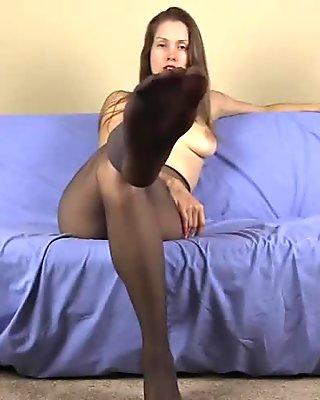 Femdom pantyhose and heels