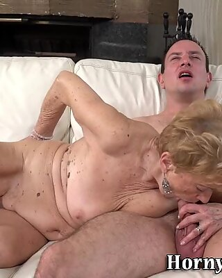 Grandmother mouth spunked