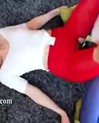 Hot lesbs in pantyhose enjoying strap
