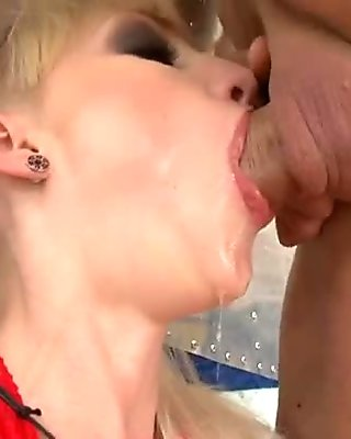 Leslie Taylor in sexy suit gives blowjob and gets fucked