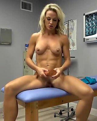 Nurse milf rides dildo