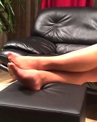 Long nylon feet play by my stepmom