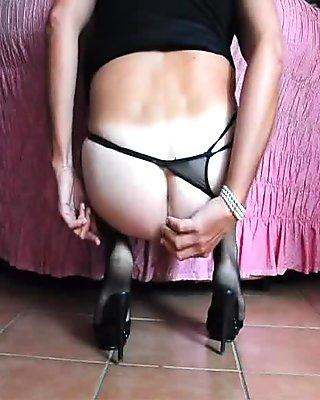 Pantyhose, balls and ass...