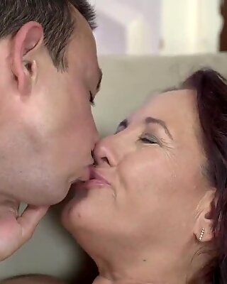 Old and sexy Red Mary wants a young cock like Robs to fuck