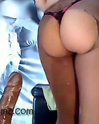 Sexy Girl riding dildo with pantyhose