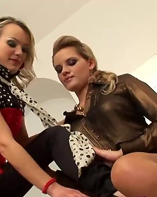 Hot lesbs in pantyhose again in action video 4