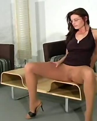 Hairy pussy in nylon pantyhose