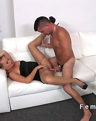 Female agent has sex in her pantyhose