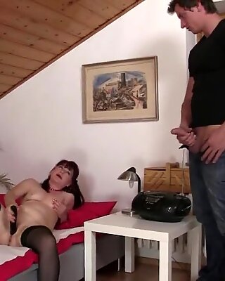 Girlfriend's old mom uses dildo and rides his cock