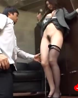 Busty Office Lady In Pantyhose Squirting While Fingered In The Office