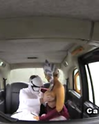 Masked babe banged through pantyhose