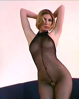 Spreading pussy in nylon
