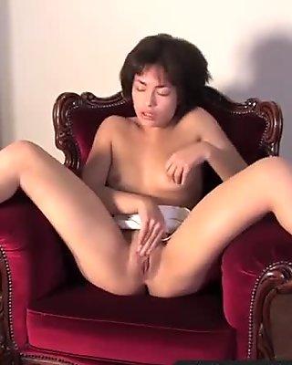 Exotic amateur cutie rubs her sensitive bald pussy