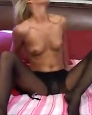 Sexy Blonde Fucked in Black Pantyhose