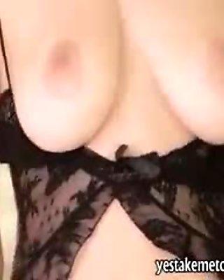 Sexy blonde Danielle Trixie in black pantyhose masturbates