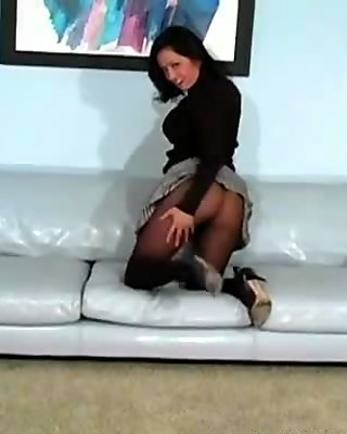 Hairy twat in transparent tights